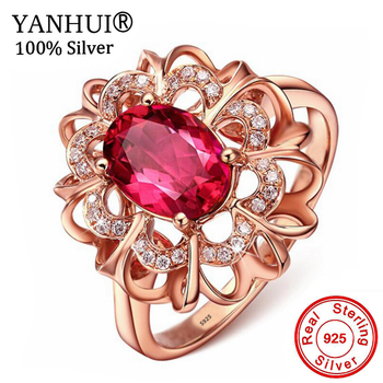 YANHUI Princess Diana William Kate 2ct Red Crystal Ruby Ring Fashion Rose Gold Color Engagement Silver 925 Rings For Women R196 цена 2017