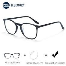 BLUEMOKY Acetate okulary na receptę dla kobiet mężczyzn kwadratowe optyczne krótkowzroczność oprawki okularowe blokujące niebieskie światło Ray okulary komputerowe