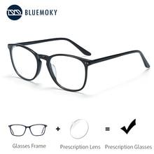BLUEMOKY asetat reçete gözlük kadın erkek kare optik miyopi gözlük çerçeveleri Anti mavi işık Ray bilgisayar gözlük