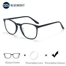 Óculos de prescrição de acetato bluemoky para homens quadrados ópticos miopia quadros anti azul luz ray computador eyewear
