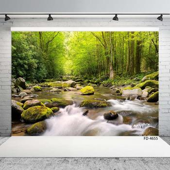 Photo Backdrops Forest River Stones Scenery Custom Vinyl Backgrounds for Baby Children Portrait Photophone Photography Props image
