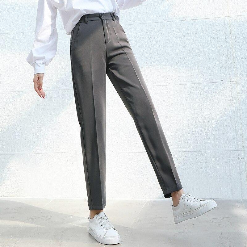 Women Suit Pants 2020 Spring Summer Fashion Female Casual Elastic Waist Formal Harem Pant Straight Trousers Office Lady Pantalon