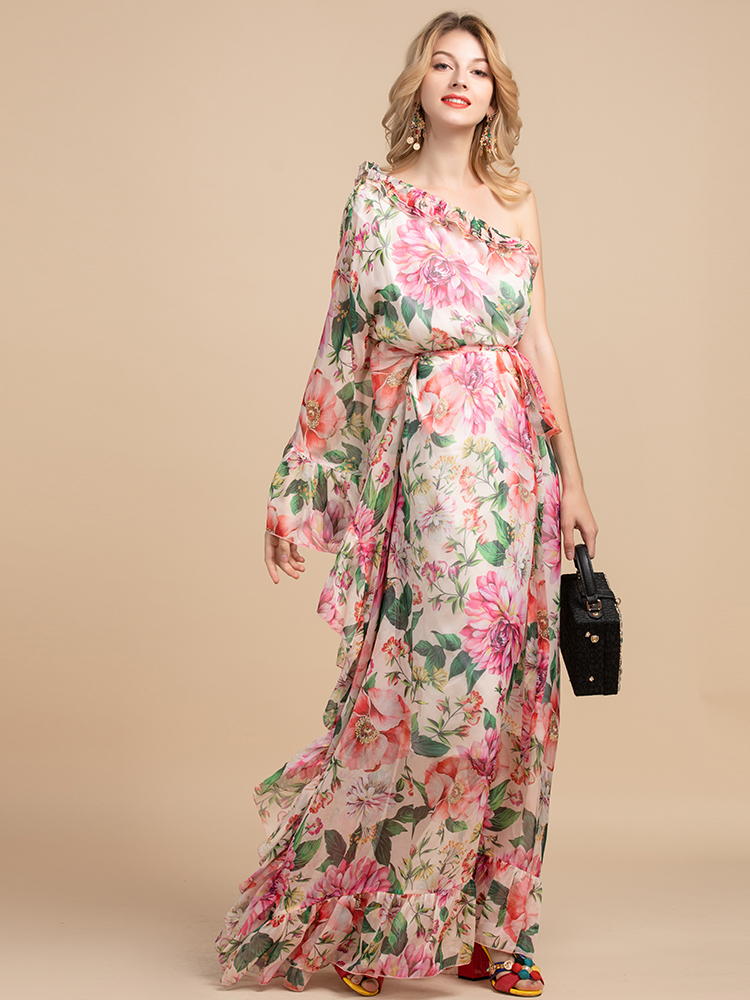 LD LINDA DELLA Summer Holiday Party Boho Maxi Dress Women's Off shoulder Chiffon Floral Print Ruffles Loose Elegant Long Dress