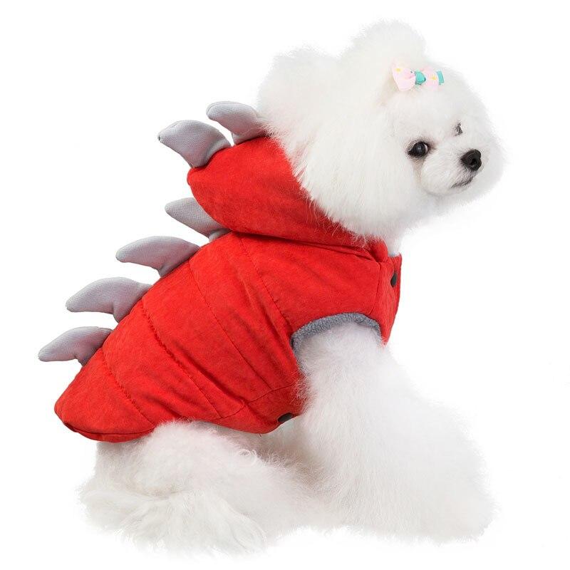 Cute Dinosaur Dog Clothes Winter Coat Jacket Warm Puppy French Bulldog Chihuahua Pet Clothing