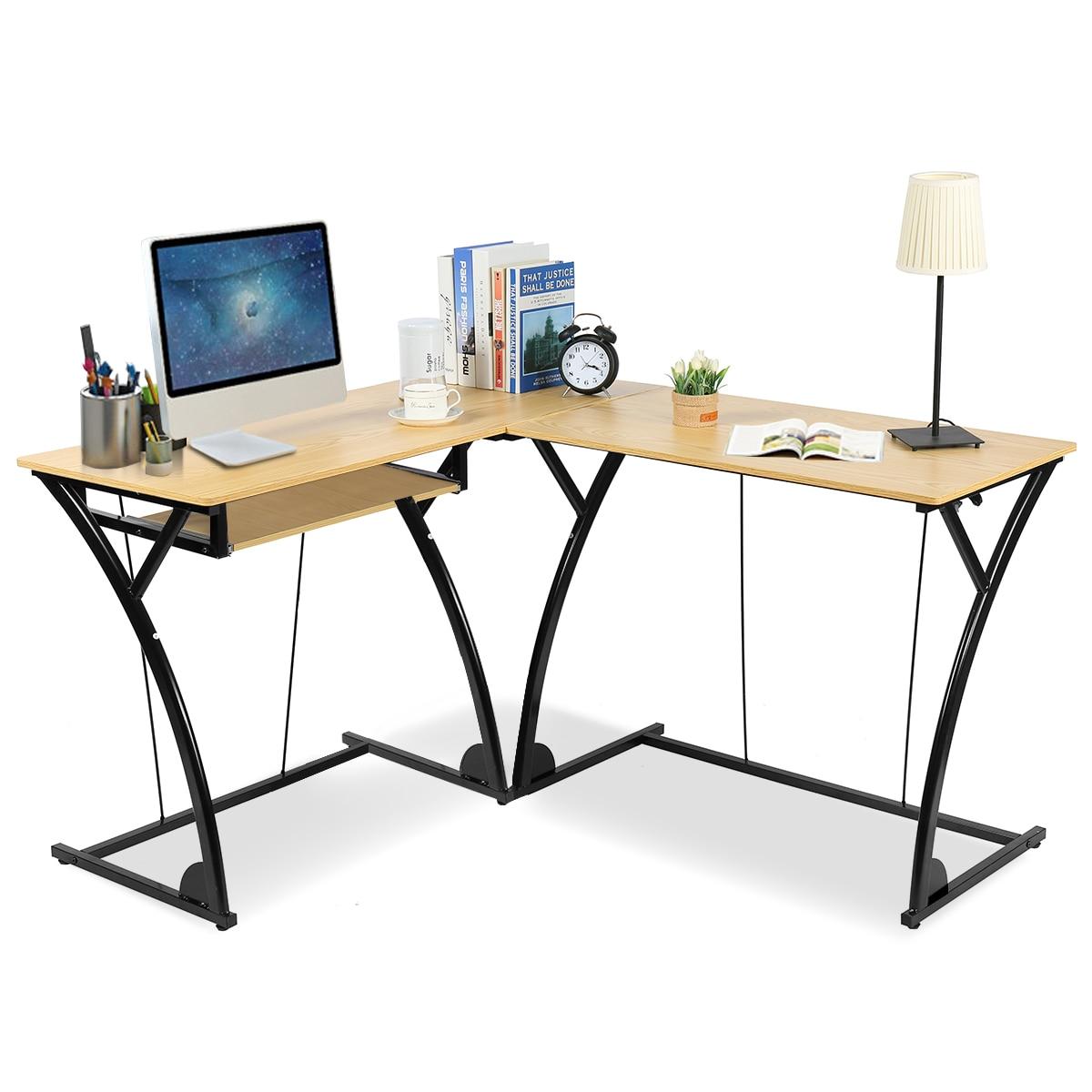 - Costway L Shaped Home Office Corner Desk Computer PC Laptop Table
