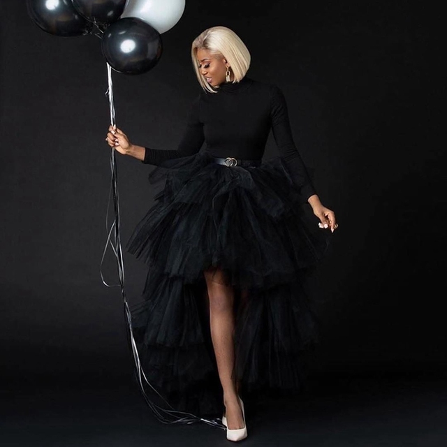 Chic Black Puffy Hi Low Tutu Party Skirt High Low Tulle Skirt Layered Women Long Skirt for Prom Custom Made 2