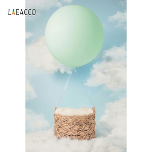 Image 3 - Laeacco Baby Shower Backdrops Newborn Photophone Birthday Photozone Blue Sky White Clouds Balloons Photography Backgrounds Props