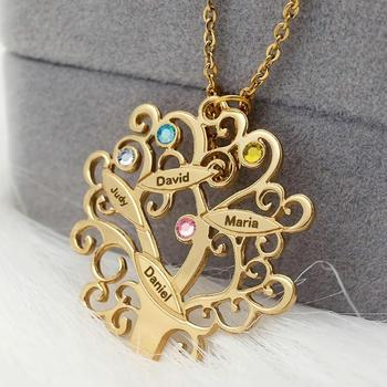 Personalized Necklace Names Family Tree Pendant Customized Engraved Names Birthstone Necklace Gift for Mom Birthday Gifts