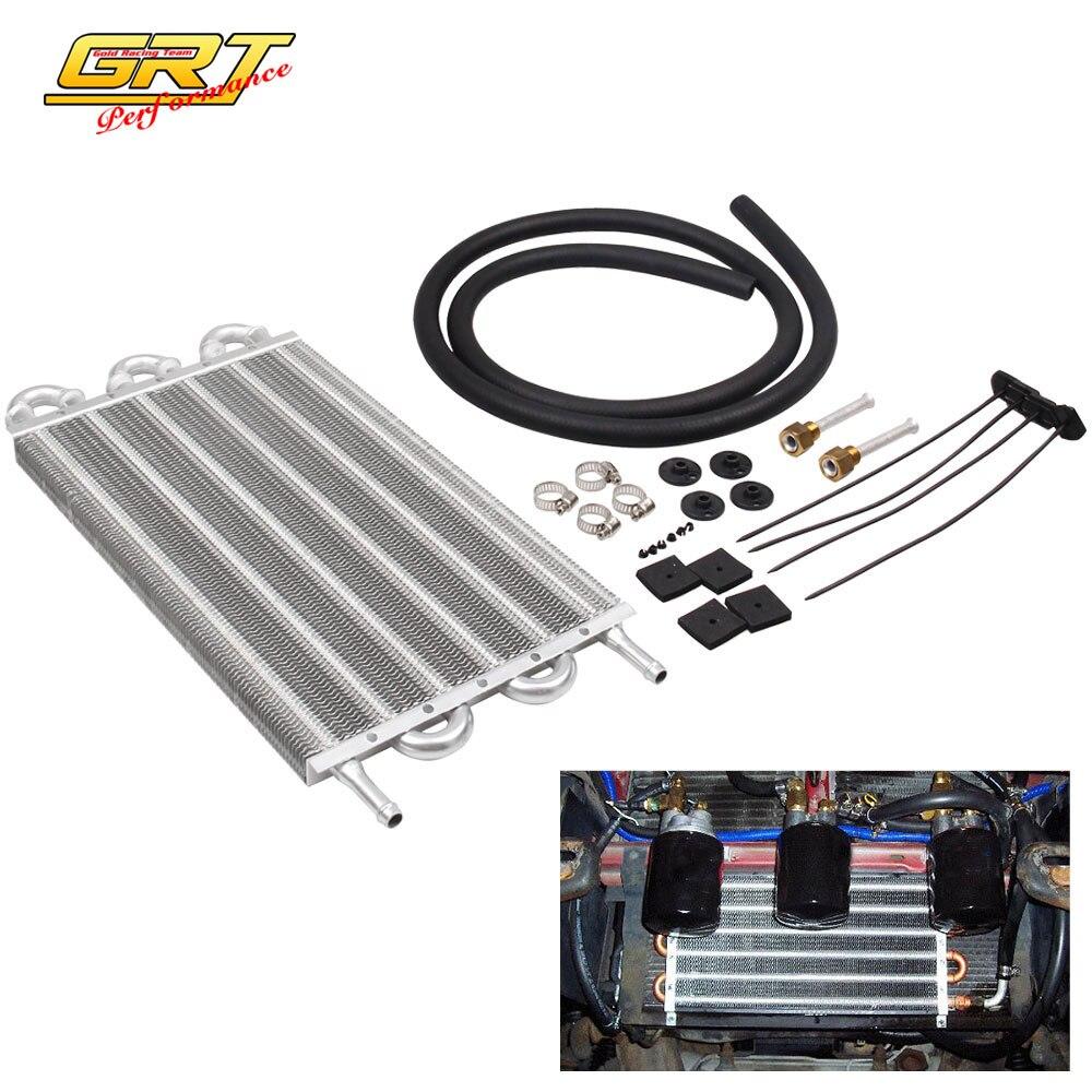 Universal Car Truck 6 Row Radiator Aluminum Trans Transmission Oil Cooler Hose