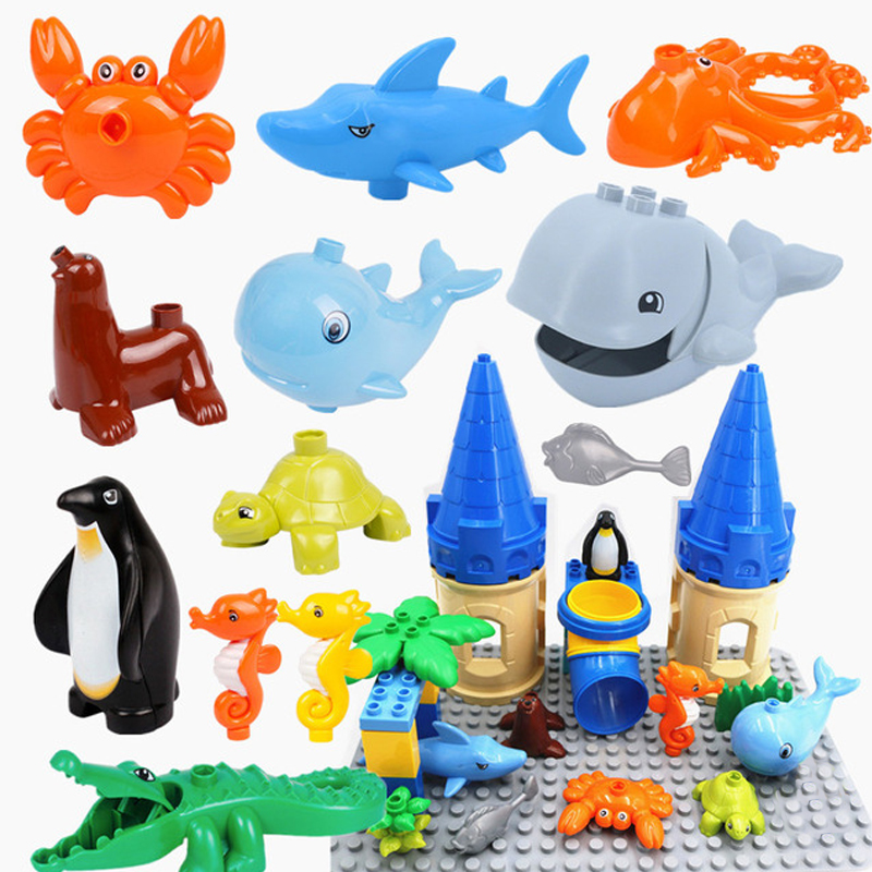 Large Particles Building Blocks Accessory Compatible with Education Gift Toys The Underwater World Octopus Whale Shark Animal