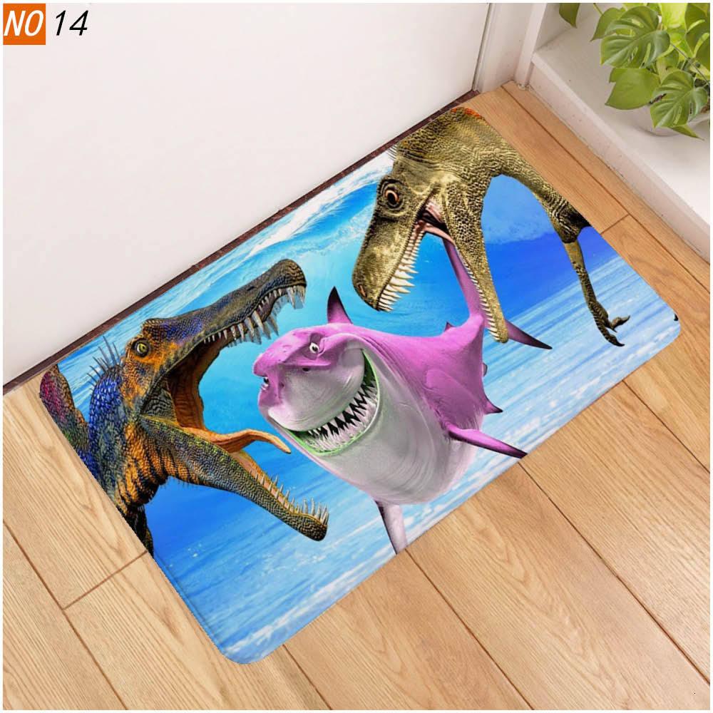 3D Dinosaur Printing Land Soft Floor Mat Edge Bar Doormat Carpet Bedroom Kitchen Doorway Floor Corridor Pad Home Decor Rug