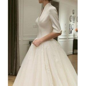 Image 2 - 2020 2020 nowa panna młoda główna przędza Hepburn wiatr sukienka francuski z długim rękawem satyna zakontraktowane pokaż cienkie Trailing Qiu Dong kobiet