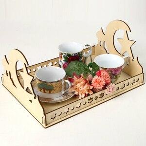 Image 4 - 2020 DIY Wooden Dessert Tray EID MUBARAK Decor for Home Ramadan Decor Pendants Islamic Muslim Party Decor Eid Al Adha
