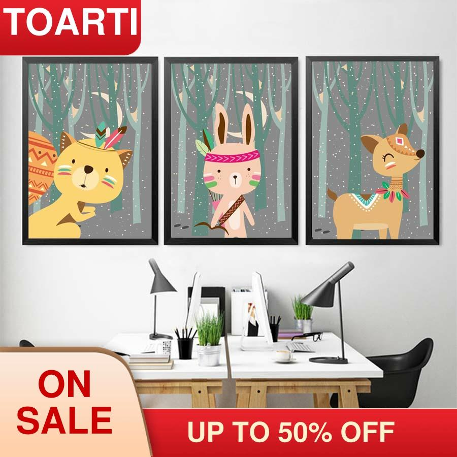 Woodland foxes Animals Cartoon Canvas Painting For Kids Bedroom modern Posters &Prints Wall Art Pictures home murals wall Decor