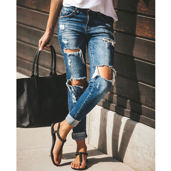 Ripped Jeans for Women Fashion Ladies Hole Jean Skinny Trousers 2019 Female Denim Pencil Pants Boyfriend Jeans for Women D25