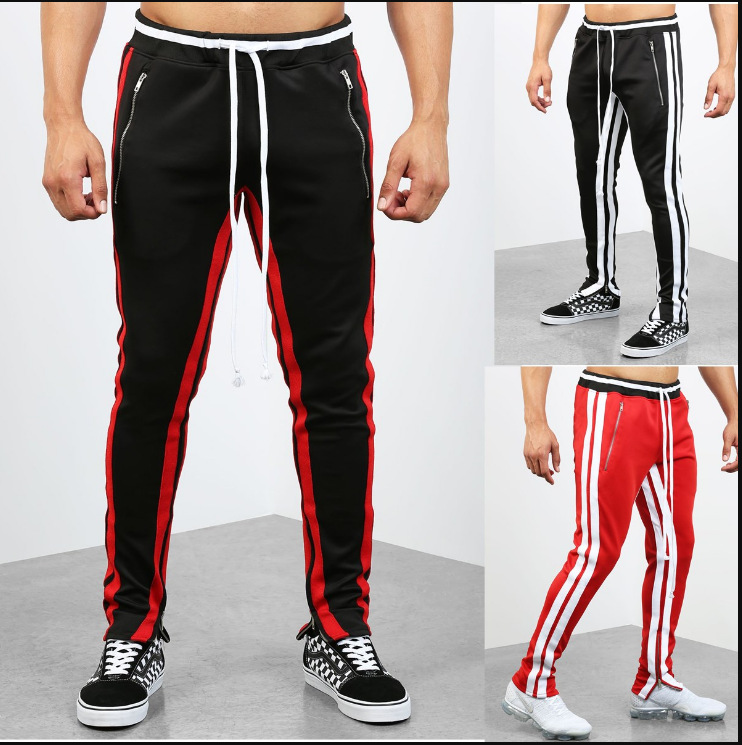 2019 Spring Men Casual Athletic Pants Hip Hop Fitness Foot Mouth Zipper Pocket Velcro Bag Joint Long