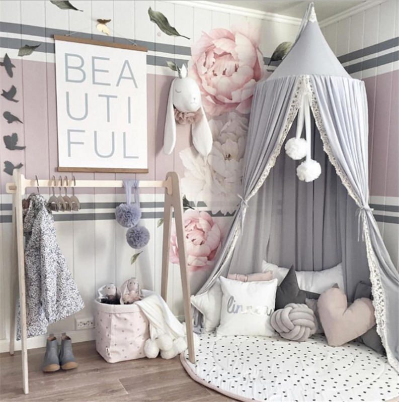 Hanging Kids Baby Bedding Dome Bed Canopy Cotton Mosquito Net Bedcover Curtain For Baby Kids Reading Playing Home Decor 3Colors