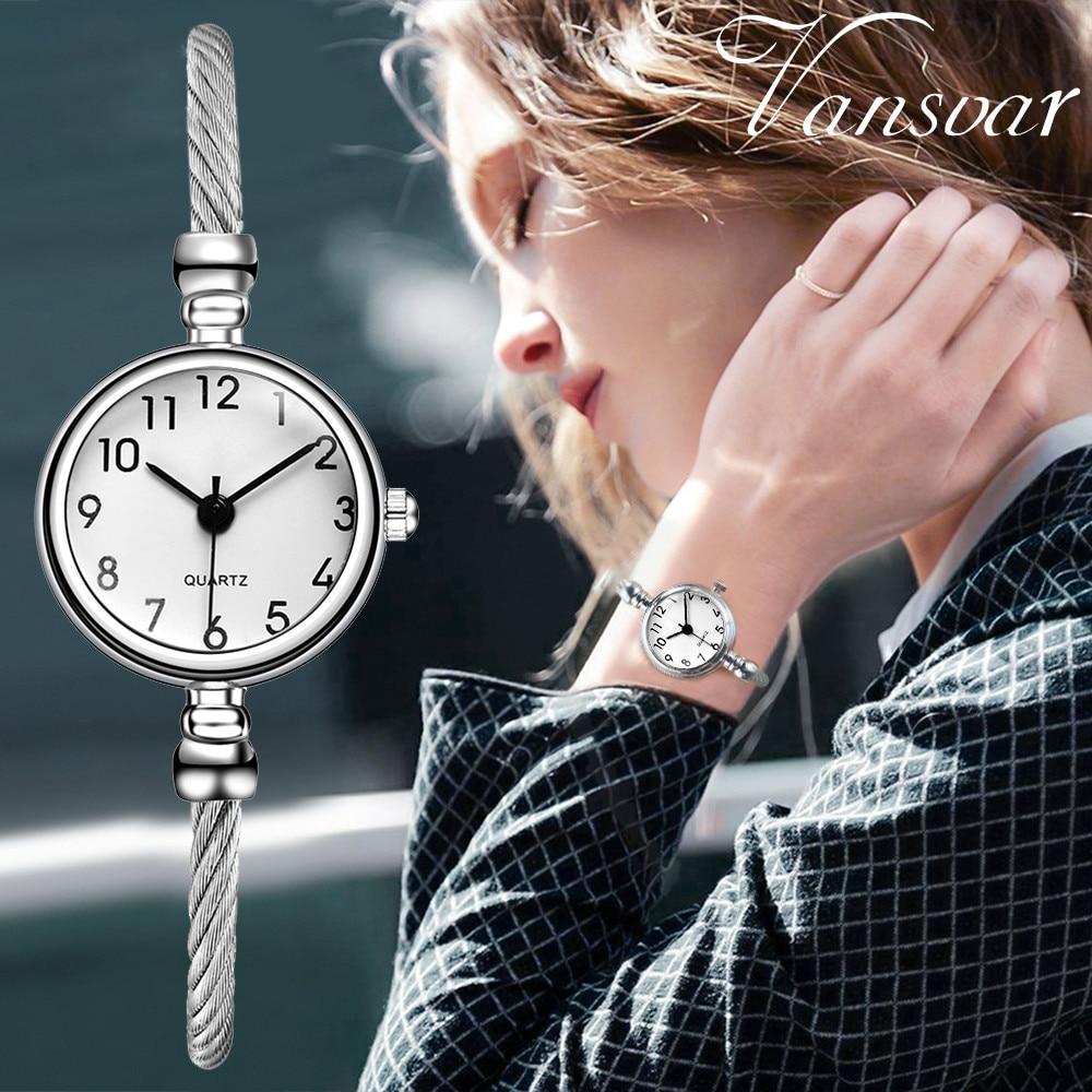 Vansvar Fashion Stainless Steel Band Bracelet Watch Simple Quartz Wrist Watch Analog Women Watches Ladies Dress Relogio Feminino