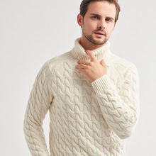 Knit Sweater  Male 2020 Winter  Top New Jacquard White Blue Twisted Soft Fashion Warm Thicken Men 100% Cashmere Sweater