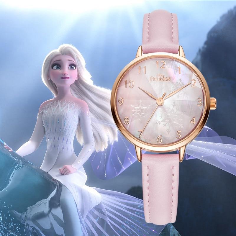 Frozen Elsa Princess Diamond Cut Shine Snowflake Pretty Girl Kids Watches Ladies Leather Quartz Watch Luxury Fashion Women Clock