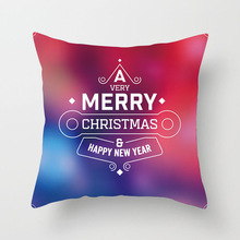купить Merry Christmas And Happy News Year Home Decor Cushion Cover For Sofa Car Golden Letter Polyester Pillowcase 45x45cm Pillow Case дешево