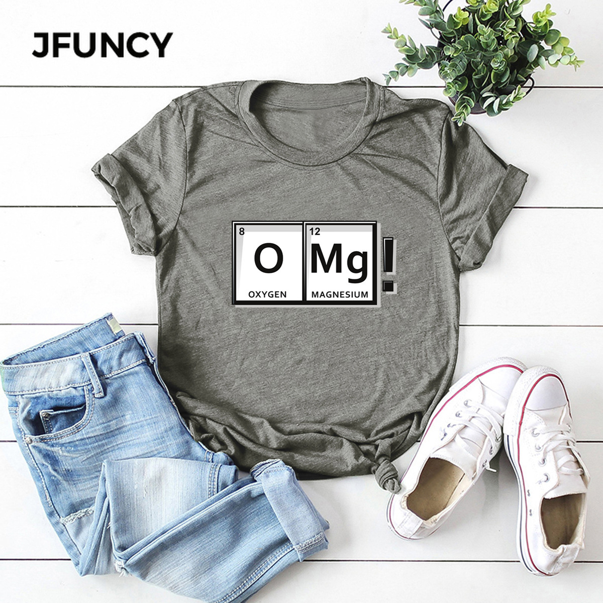 JFUNCY OMG Fun Chemistry Element Periodic Table Graphic Woman Tee Tops 100% Cotton Summer  Female T-shirt Plus Size Women Shirts
