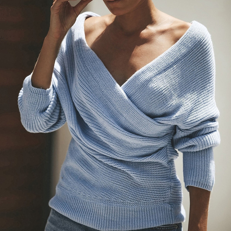 Elegant Sweaters For Women Long Sleeve Solid Color Sexy V-neck Cross Knitwear Pullover Sweater Female Tops