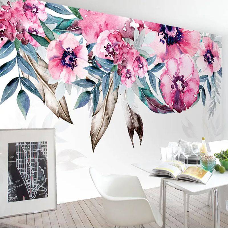 Custom 3D Photo Wallpaper Romantic Pastoral Hand Painted Floral Mural Living Room Bedroom Background Wall Decoration Painting