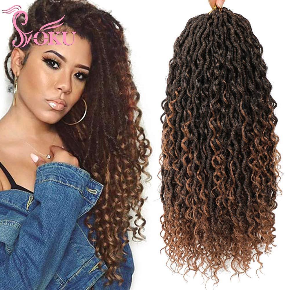 SOKU Goddess, вязанные крючком локоны, косички для волос, искусственные Локи, речные волосы для наращивания, вьющиеся синтетические Упругие волос...