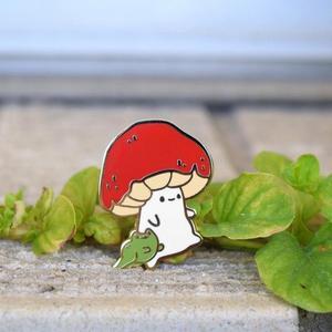 Mushroom and Froggo Hard Enamel Pin, Cute, Kawaii, Nature, Outdoors Lapel Pins Badge Brooch