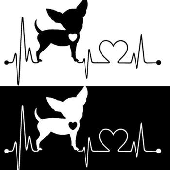 Cute Cartoon Electrocardiogram Heart Dog Car Styling Window Sticker Decal Decor Auto Stickers Accessories image