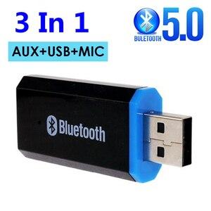 USB RCA AUX 3,5 мм разъем Bluetooth 5,0 приемник с микрофоном стерео беспроводной адаптер для динамика громкой связи автомобильный комплект аудио перед...