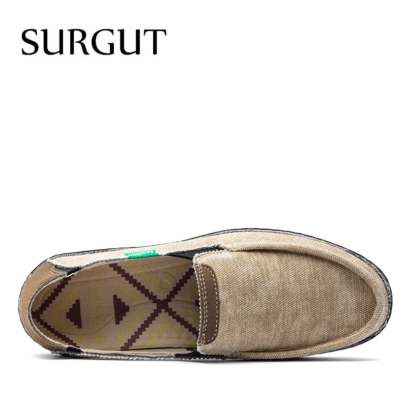 Image 3 - SURGUT Brand New Fashion All Season Men Driving Shoes Loafers Espadrilles Shoes Breathable Men Casual Flats Canvas Size 39~47Mens Casual Shoes   -
