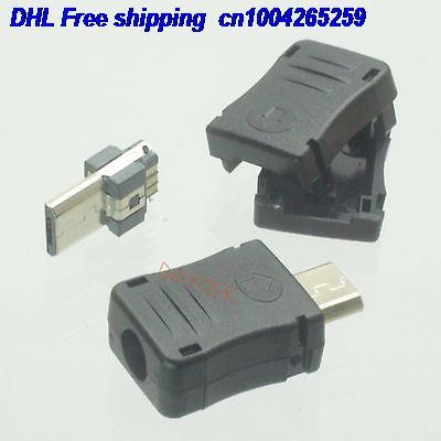 DHL 500pcs Micro USB Type-B Male Plug Balck Plastic Cover 3-piece Male Connector  22-ct