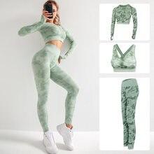 Sem costura conjunto de yoga ginásio roupas de fitness feminino terno de yoga treino esportiva leggings roupas esportivas conjuntos de ginástica
