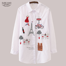 New White Women Blouse 19 Long Sleeve Cotton Embroidery