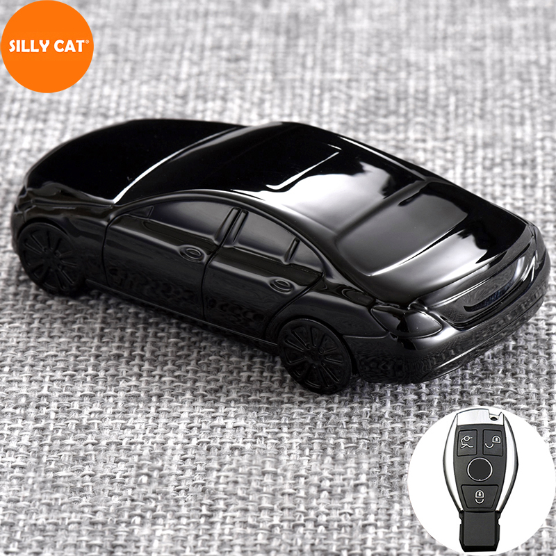 Car Model Car Keychain Car Key Case Cover Fob Suit For Mercedes Benz A B GLC CLA GLA CLS S E C Class W204 W205 W212 Key Case