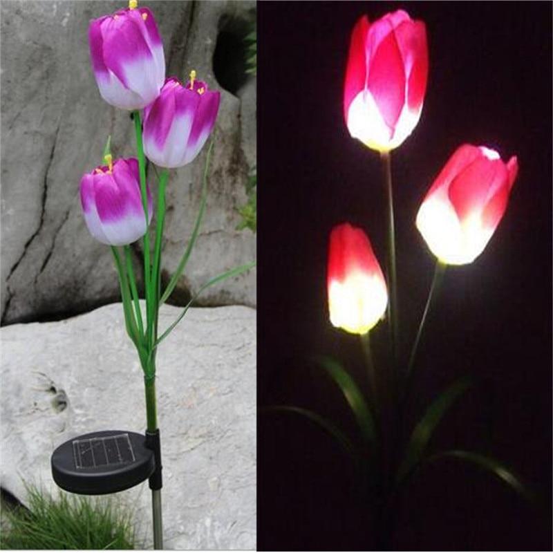 Flower Lamp String Lights Tulip Garden Stake Garland Fairy Crystal Flowers Outdoor Wedding Decoration Solar Powered LED