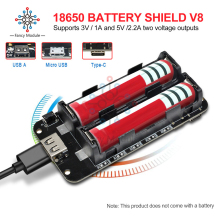 Diymore ESP8266 ESP32 2x18650 Литий Защита аккумулятора V8 5 V/2.2A мобильный Мощность банк модуля зарядки Micro USB/Тип-C для Arduino