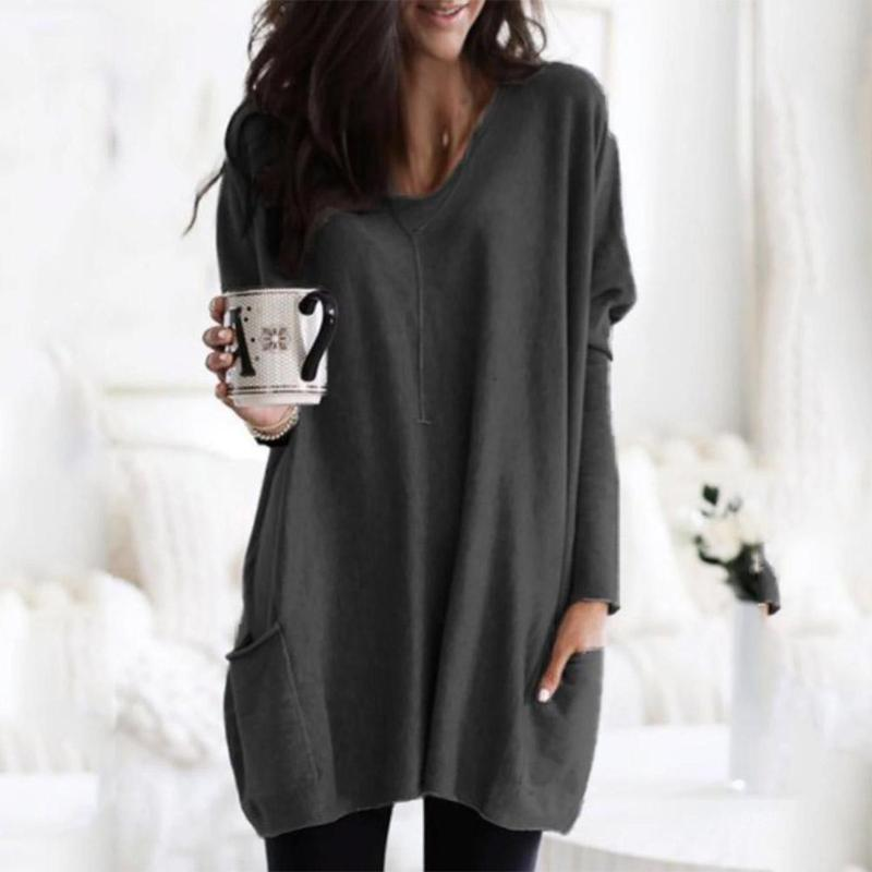 Autumn Women Long T-shirt V-neck Loose Solid Color Long Sleeve Pocket Tops Camiseta Mujer Large Size 5XL