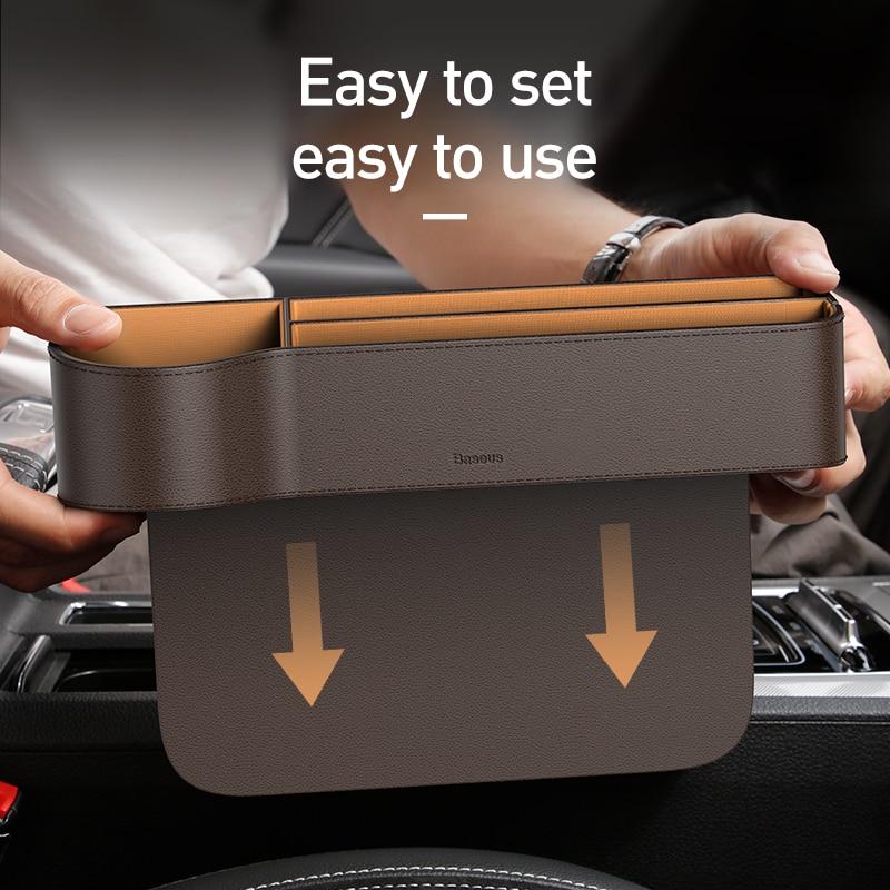 Image 4 - Baseus Car Storage Baskets Box Organizer Seat Gap PU Case Pocket Car Seat Side Slit For Organizer Wallet Keys Phone HoldersStowing Tidying   -