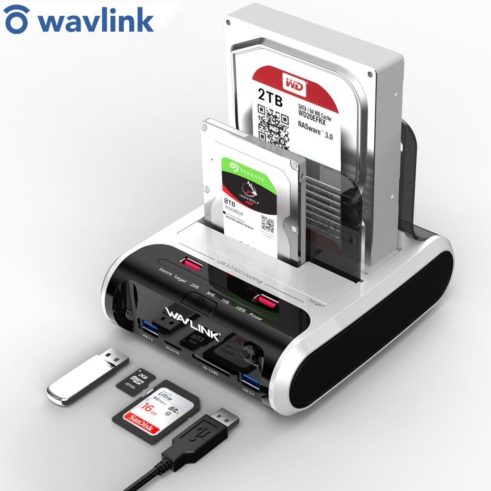 Docking-Station Uasp-Card-Reader SSD Clone External-Hard-Drive SATA Wavlink Dual-Bay