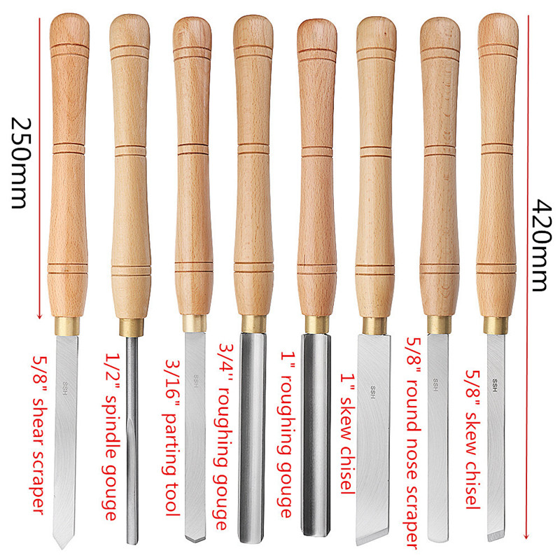 Brand New High Speed Steel Lathe Chisel Wood Turning Tool With Wood Handle Woodworking Tool 8 Types Durable