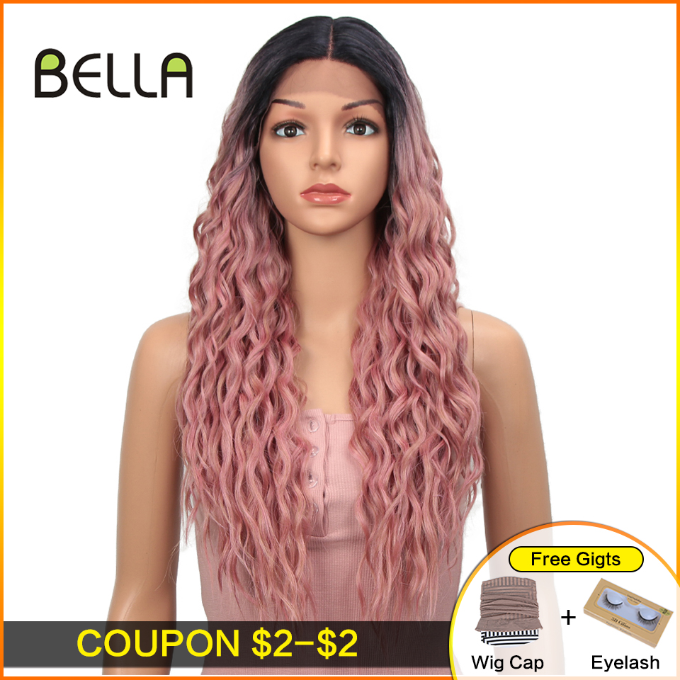 Ombre Pink Long Synthetic Lace Front Wigs For Women Black Pink Blonde Wigs 27 Inch Cosplay Wigs Heat Resistant Water Wave Hair