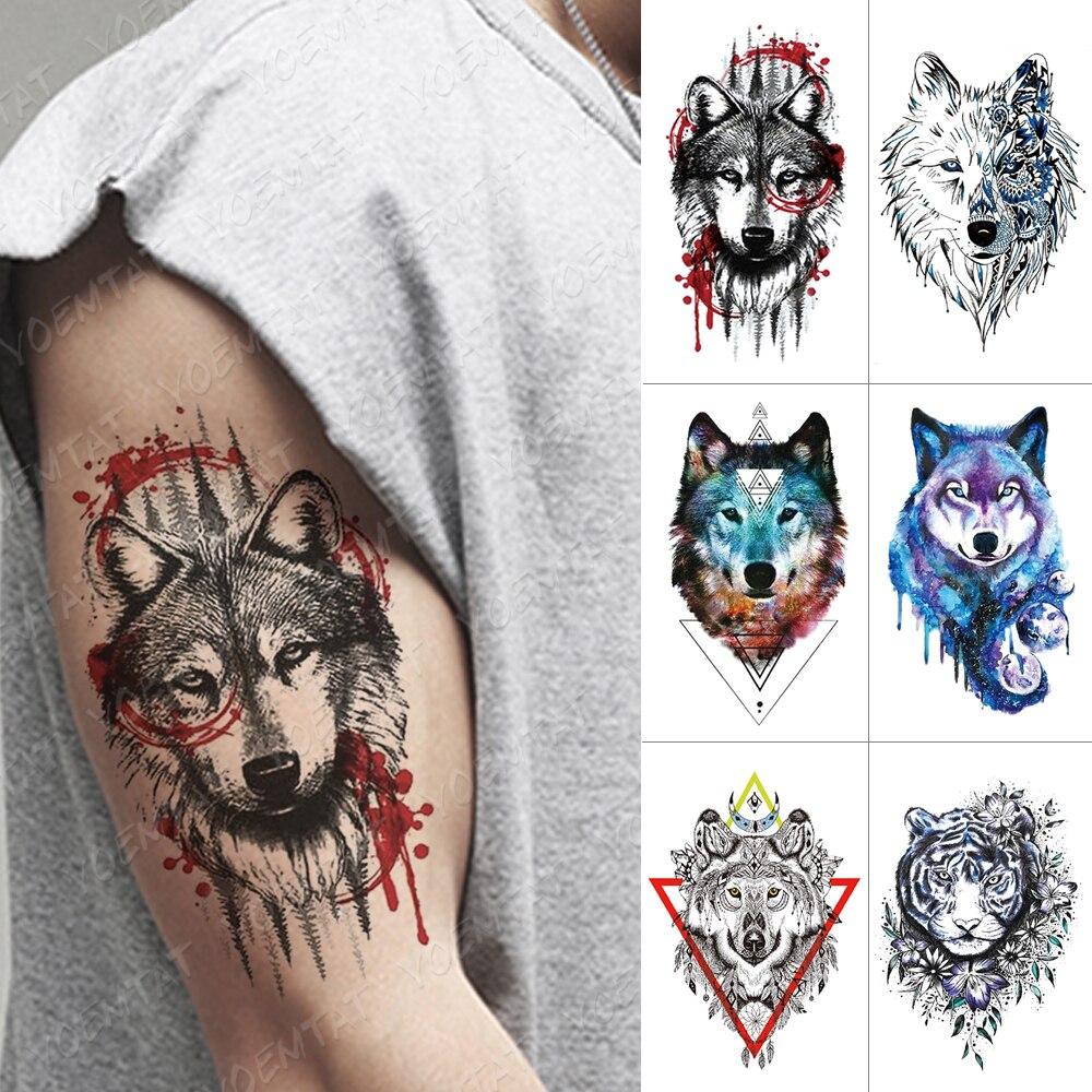Waterproof Temporary Tattoo Sticker Forest Wolf Flash Tatto Tiger Flowers Fox Body Art Arm Water Transfer Fake Tatoo Women Men