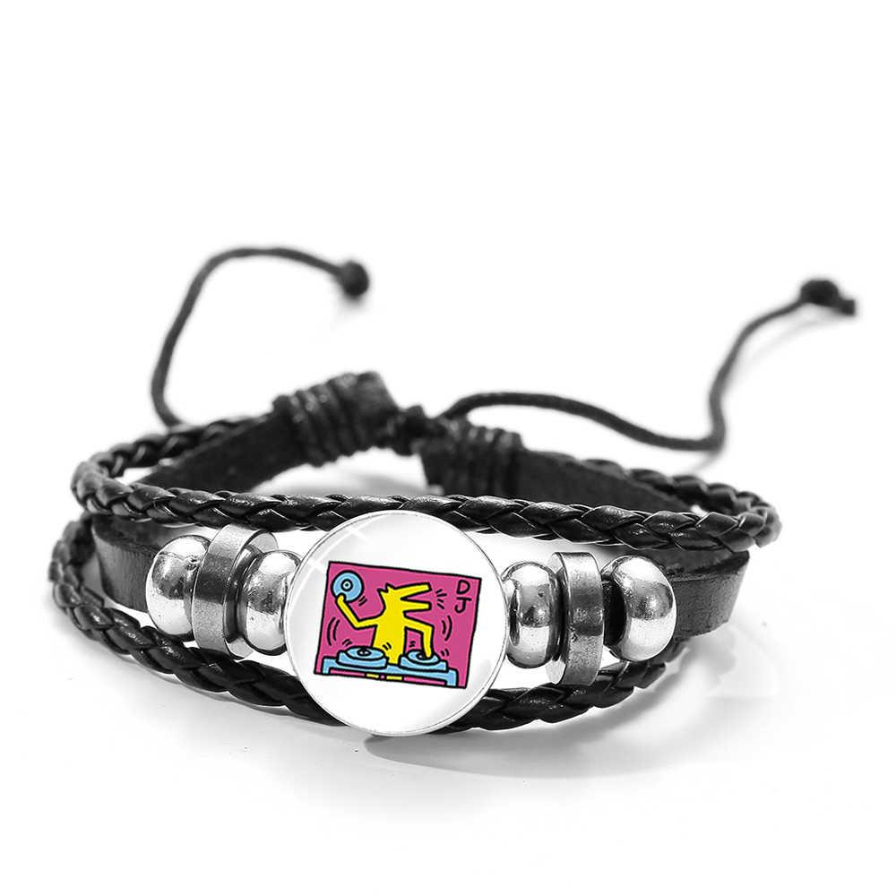 SONGDA современный уличный граффити художественный браслет креативный Кит Харинг художественная живопись стеклянная Кнопка Шарм черный кожаный браслет новый
