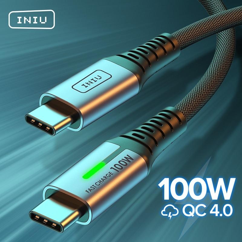 Кабель INIU PD 100 Вт с USB C на USB Type C для быстрой зарядки, зарядное устройство для телефона, шнур для передачи данных для Huawei, Xiaomi, Redmi, Samsung S20, S9, Macbook ...