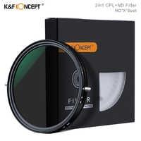 K&F Concept 2in1 Fader Variable ND filtro + CPL Polarizador Circular filtro 67mm 72mm 77mm 82mm ND2 a ND32 para filtro de lente de cámara
