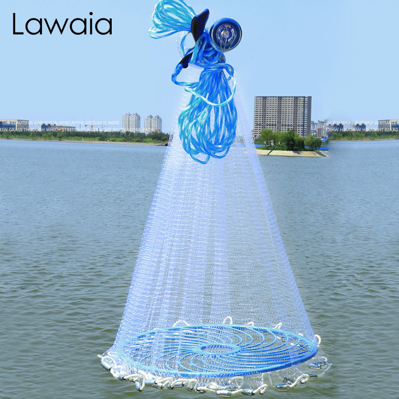 Lawaia 2.4M-7.2M USA Casting Net Easy Throw Catch Fishing Net Outdoor Hunting Hand Throwing Network Small Mesh Fish Trap Network
