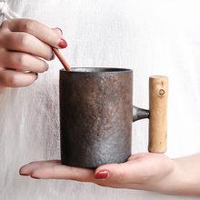 Stile giapponese di Ceramica D'epoca Tazza di Caffè Tumbler Ruggine Smalto Tè Al Latte di Birra Tazza con Manico In Legno Tazza di Acqua Per La Casa ufficio Articoli E Attrezzature Per Acqua, Caffè, Tè